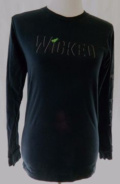Wicked Tshirt Long Sleeve Black 100% Cotton American Apparel Broadway Play S #AmericanApparel #EmbellishedTee