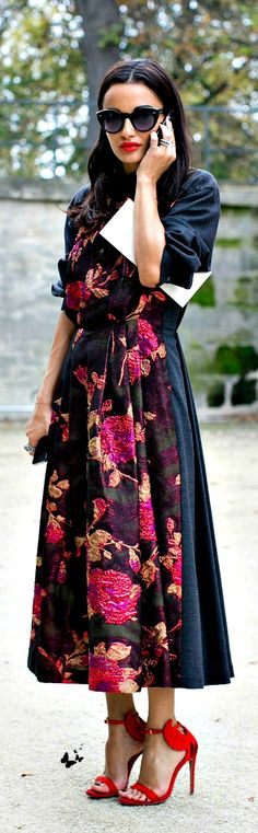 street style  This dress?? just looks amazing but I am not exactly sure why I like it but I do! :)