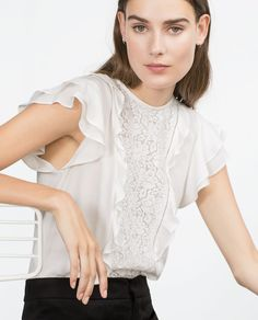 Image 4 of COMBINED LACE BLOUSE from Zara