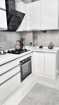 Seramiksan, Beyaz mutfak, Cam Ankastre, Ankastre, Mutfak, Modern mutfak, Tezgah arası seramik, Kulpsuz dolap, L-tipi mutfak