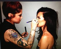 I love this picture of Catt Sadler getting her makeup done!  Beautiful