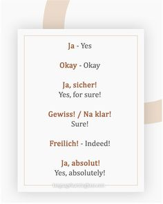 The Many Different Ways to Say 'Yes' in German . Study German, German English, Learn German, Learn French, German Language Learning, Learn A New Language, Dual Language, German Grammar, German Words