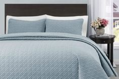 Twin/Twin XL Size Stone Blue Quilt Coverlet Bedspread Set