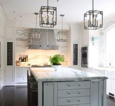 beautiful grey kitchen w marble; really love the lucite handles, but I'd want more organic lines in the light fixtures to even out all that square/rectangle/linear action.    View entire slideshow: 15 Stunning Gray Kitchens on http://www.stylemepretty.com/collection/277/