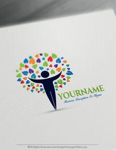 Human Tree Logo Design Maker - Create a Logo Free Online - Free Logo Maker Free Logo Creator, Online Logo Creator, Logo Inspiration, Create A Logo Free, Human Tree, Restaurant Logo, Plant Logos, Education Logo, Free Education