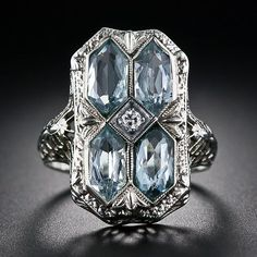 Art Deco Fashion 1920s | 1920's aquamarine Art Deco filigree ring | amazing art deco style