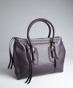 Alexander McQueen : aubergine leather whipstitch detail large top handle bag : style # 321269501