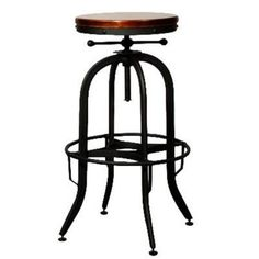 New Pacific Direct 958632 Industrial Vintage Bar Stool, Black