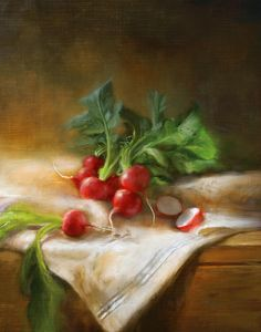 Title  Radishes Artist  Robert Papp Medium  Painting Description  As featured on the cover of Cooks Illustrated magazine. March 2008.