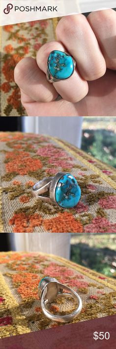 Vintage Sterling Silver Turquoise Ring Stunning pyrite matrix in turquoise, size 6.5, beautiful condition Vintage Jewelry Rings