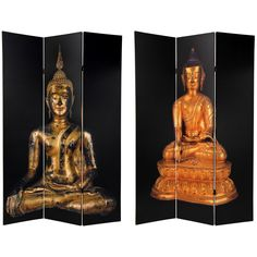 Oriental Furniture 6 ft. Tall Double Sided Thai Buddha Canvas Room Divider - 3 Panel, Multi