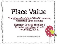 Here's a set of place value anchor charts that includes place value defined, standard form, expanded form and word form.