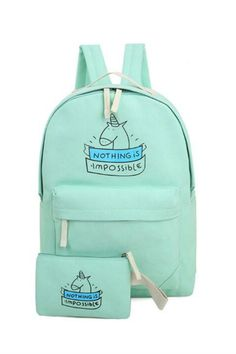 Mint Unicorn Backpack With Wallet
