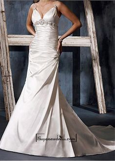 A Charming Stretch Satin Beaded Wedding Dress