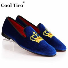 Royal Blue Velvet Loafer Slip On Gold Crown Embroidery Patch Party Wear Handmade Fashion Shoes sold by scorpianshoes. Shop more products from scorpianshoes on Storenvy, the home of independent small businesses all over the world. Suede Leather Shoes, Leather Moccasins, Leather Men, Cowboy Shoes, Mens Shoes Boots, Black Loafers, Loafers Men, Custom Design Shoes, High Ankle Boots