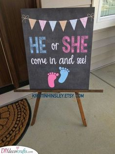 Gender Reveal Baby Shower - He or SheYou can find Gender reveal parties and more on our website.Gender Reveal Baby Shower - He or She Simple Gender Reveal, Gender Reveal Party Games, Gender Reveal Party Decorations, Gender Party, Gender Reveal Invitations, Baby Shower Gender Reveal, Gender Reveal Food, Baby Toys, Baby Baby