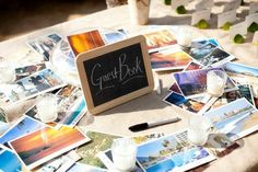 Travel themed wedding guest book - postcards!