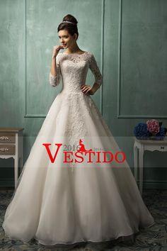 2016 Una línea de vestidos de novia Bateau 3/4 Longitud mangas con apliques de organza
