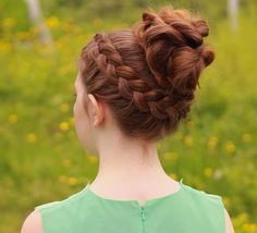 Dutch braid with messy bun