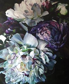 Marcella Kaspar_velvet_oil on Deco Floral, Arte Floral, Art Aquarelle, Watercolor Paintings, Big Flowers, Purple Flowers, Exotic Flowers, Flowers Garden, Yellow Roses