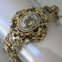 Vtg Victorian Austro Hungarian 800 Silver Citrine Enamel Pearl Bracelet