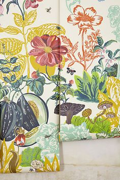 I adore this - 9 feel tall so it covers a normal wall. So cute for a girls room - Great Meadow Mural #anthoregistry