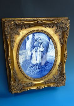 Antique English Royal Doulton Series Ware Burslam Blue Children Babes In The Woods Flow Blue Painted Pottery Portrait Framed Wall Plaque