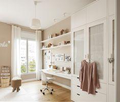 MG 56878. Escritorio, armario y baldas en blanco y paredes en beige en el dormitorio infantil_MG 56878