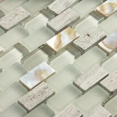 Ocean Mosaics Tiles & Accessories - Glass mixed with mother of pearl and stone | Agata Shell Mix Silver