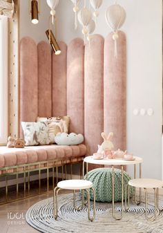 Play area in the nursery for the little Princess. Pink soft panels and a stylish. Play area in the nursery for the little Princess. Pink soft panels and a stylish sofa by the window Baby Bedroom, Kids Bedroom, Bedroom Decor, Bedroom Ideas, Small Bedroom Hacks, Small Bedrooms, Guest Bedrooms, Salon Interior Design, Room Interior