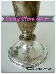 How To Clean Silver Naturally and Easily with ingredients you have in your kitchen. You'll never go back to polishing with silver cleaner and rags again! H2OBungalow.com #greenclean