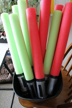 Star Wars 5th Birthday | CatchMyParty.com Light sabers made from pool noodles, duct tape and electrical tape.