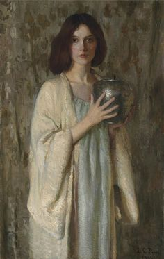 Lilla Cabot Perry The Silver Vase, 1905 : The Silver Vase, 1905 by Lilla Cabot Perry American artist who worked in the Impressionist style, rendering portraits and landscapes in the free form manner of her mentor, Claude Monet. Lilla Cabot P Camille Pissarro, Classic Paintings, Beautiful Paintings, Classical Art, Claude Monet, Woman Painting, American Artists, Figurative Art, Art Blog