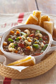 Jamie's Vegetable Soup with Grilled Cheese Sandwich Dunkers