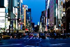 """""""japanlove:  Ginza at dusk by Joi on Flickr.  """""""