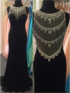 Scoop Sweetheart Prom Dress,Black Chiffom Beaded Prom Dress,Mermaid Long Prom Dress With Tulle Full Back Prom Dresses 2016, Black Prom Dresses, Mermaid Prom Dresses, Cheap Prom Dresses, Bridesmaid Dresses, Dress Black, Party Dresses, Gowns 2017, Prom 2016