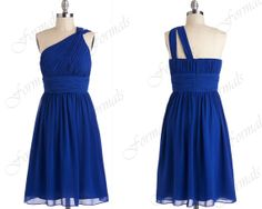 One Shoulder Mini Short Royal Blue Chiffon Wedding Party Dresses, Cocktail Dresses, Formal Gown on Etsy, $89.00