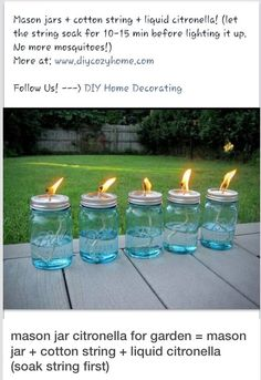 DIY Mason Jar Citronella For Garden - No More Mosquitoes