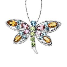 XPY Sterling Silver Multi-Gemstone Dragonfly Pendant Necklace