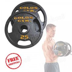 Gym-Plate-Set-Pair-of-25-lb-Cast-Iron-Workout-Training-Muscle-Force-Tighten-Tone
