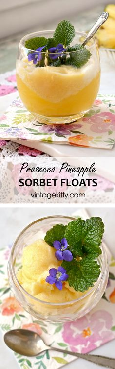 Nothing is as cool as frozen bubbly! Prosecco Pineapple Sorbet Floats are perfect for special occasions, but not too fussy for a casual affair. Easy Drink Recipes, Best Cocktail Recipes, Sangria Recipes, Margarita Recipes, Punch Recipes, Yummy Drinks, Smoothie Recipes, Dessert Recipes, Smoothies