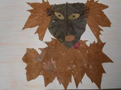 Collage de tardor realitzat amb fulles seques (Escola Progrés Badalona)