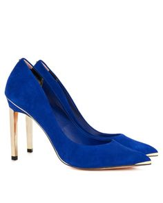 Metal pointed court shoe - Blue | Shoes | Ted Baker