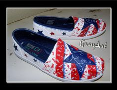 Blue Star BOBS Canvas Shoes Patriotic Shoes Painted by GranArt