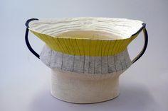 helen fuller Bowl with two Handles 2012 White raku, ceramic pencil, underglaze 17 x 20.5 x 28cms $850