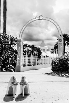 Swooning over these perfect bridal shoes at Disney's Wedding Pavilion. Photo: Mike, Disney Fine Art Photography
