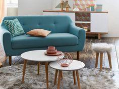 living room-small-sofa-blue - New Deko Sites Small Living Rooms, Living Room Modern, Home And Living, Living Room Designs, Living Room Decor, Modern Sofa, Table Basse Jimi, Sofa Scandinavian, Home Furniture
