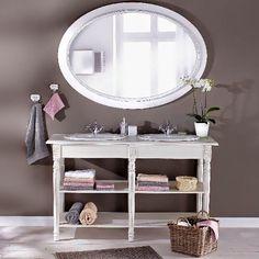 Nyitott polcos tárolás a fürdőben Butler, Vanity, Mirror, Table, Furniture, Home Decor, Deco, Dressing Tables, Powder Room
