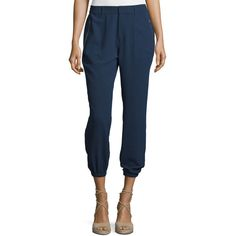 Joie Matias Crepe Slouchy Pants ($198) ❤ liked on Polyvore featuring pants, dark navy, women's apparel pants, elastic ankle pants, slouch trousers, pocket pants, tapered trousers and slouchy trousers