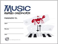 Music Award Certificate (Oliver the Octopus and the Gang) - Click to Download and Print Free Certificate - MakingMusicFun.net